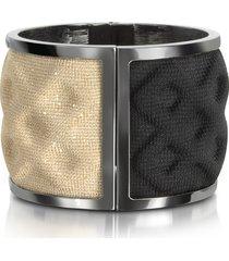 avril 8790 designer bracelets, double ruthenium plated brass and black/gold viscose bangle