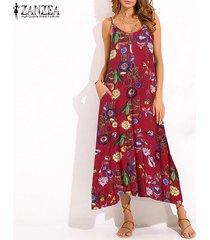 zanzea mujeres correas de espagueti de vacaciones de verano slip vestido de la impresión floral de vestido a media pierna -rojo