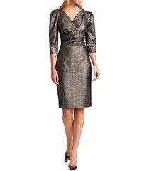 teri jon lamè metallic puff sleeve sheath dress - bronze - size 6