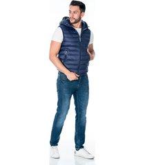 chaleco azul acolchado con capota para hombre cremallera frontal y bolsillos laterales con cremallera