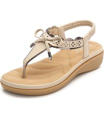 sandali piatti bohemian elastici bowknot