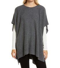 women's nordstrom high/low wool & cashmere poncho, size one size - grey