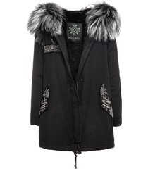 black parka a-line with beads embroideries