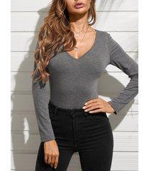 yoins camiseta de manga larga con cuello en v de diseño simple gris oscuro