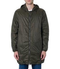 mauro grifoni dark green synthetic fiber hooded coat