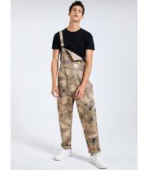 botón con estampado de camuflaje de algodón con estilo 100% algodón para hombre diseño peto con peto sin mangas mono