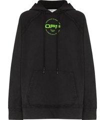 off-white hand logo print hoodie - black