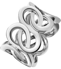 anel infinito entrelaçados banhado a ródio branco