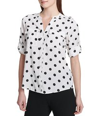printed roll-sleeve button-down shirt
