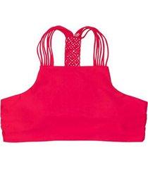 bikini peto con trenza trasera rojo samia
