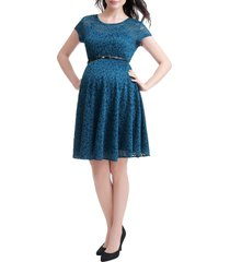 women's kimi and kai lace maternity skater dress, size medium - blue/green