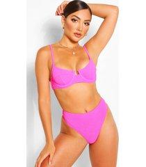 mix & match gekreukeld bikinibroekje met hoge taille, roze