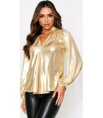 balloon sleeve metallic oversized shirt, gold