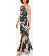 adrianna papell petite floral-print one-shoulder gown