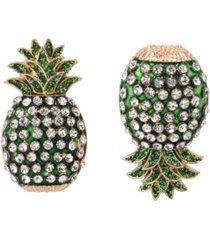 """betsey johnson pineapple mismatch stud earrings in gold-tone metal, 1"""""""