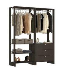 guarda roupa closet 2 peças c/ 2 cabideiros 3 gavetas e 4 nichos yes nova mobile preto