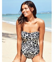singita non wired leopard print bandeau tummy control one-piece swimsuit