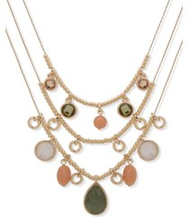 "anne klein gold-tone crystal, stone & mother-of-pearl charm beaded layered necklace, 16"" + 3"" extender"