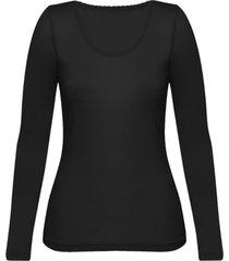 enna, biologisch zijden shirt met lange mouwen, zwart 40/42