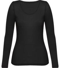 enna, biologisch zijden shirt met lange mouwen, zwart 36/38
