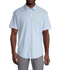boss hugo boss men's short sleeve cotton button front shirt - light pastel blue - size xs