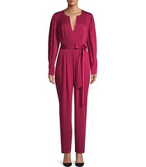 long-sleeve tie-waist jumpsuit