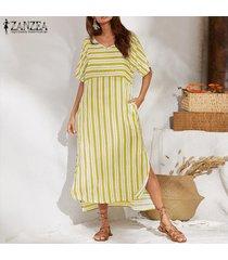 zanzea vestido largo de playa de manga corta a rayas sueltas de verano para mujer vestidos largos -amarillo
