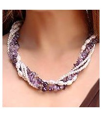 cultured pearl and amethyst torsade necklace, 'iris garland' (thailand)