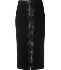 alaïa pre-owned 1980s leather appliqué pencil skirt - black