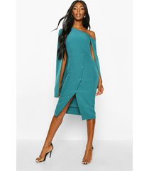cape detail one shoulder cover button dress, teal