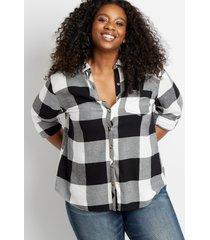 maurices plus size womens black buffalo plaid button down shirt