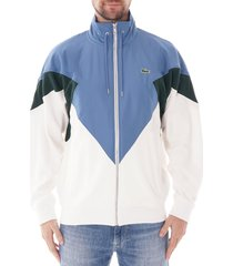 lacoste stand-up neck color block zip jacket   white/blue/green   sh8637-1v1