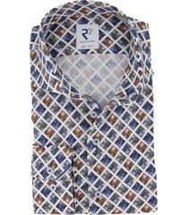 r2 shirt mouwlengte 7 bruin blauw geruit