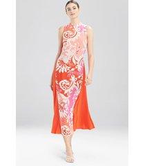 natori mantilla scroll sleeveless dress, women's, silk, size 8
