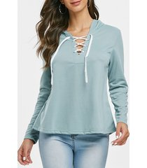 lace up solid casual hoodie