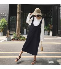 zanzea mujeres correas sin mangas vestido de traje de trabajo informal una línea vestido de tirantes top negro -negro