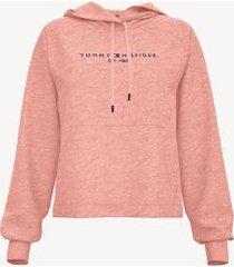 tommy hilfiger women's essential logo hoodie coral heather - xxl