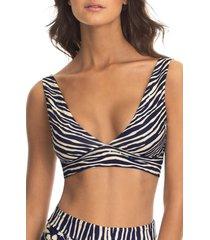 maaji zebra print reversible bikini top, size large in blue at nordstrom