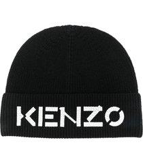 kenzo black wool hat with logo