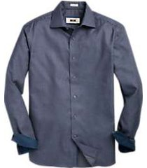 joseph abboud dark blue & charcoal woven check sport shirt