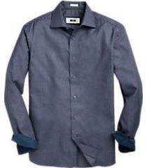 joseph abboud dark blue & charcoal woven check sport shirt