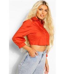 katoenen poplin blouse met zakken en uitgesneden schouders, burnt orange