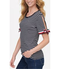 tommy hilfiger cotton striped tie-sleeve top, created for macy's