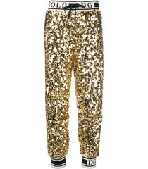 dolce & gabbana side band sequin trousers - gold