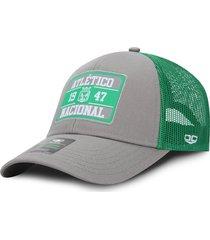 gorra atlético nacional oficial de malla verde y gris