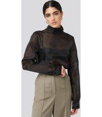 na-kd classic high neck organza blouse - black