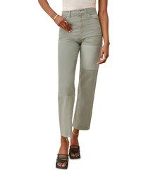 women's reformation ryan tonal patch high waist straight leg jeans, size 25 - green