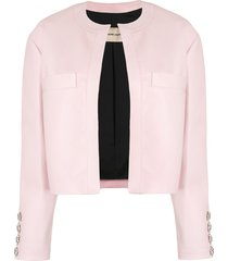 alexandre vauthier crystal button leather jacket - pink