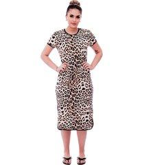 camisola ficalinda midi manga curta 3 em 1 com estampa animal print de onça e viés preto