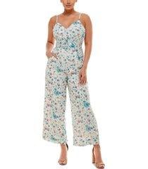 bebe floral-print wrap-waist wide-leg jumpsuit